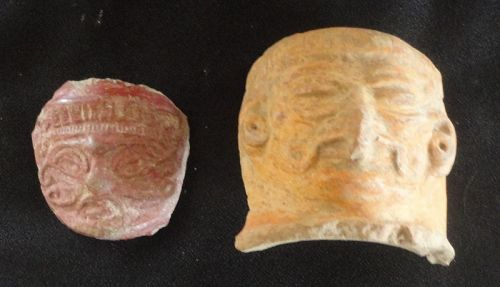 AN INTERESTING PAIR OF MAYA ANTHROPOMORPHIC POTTERY FRAGMENTS