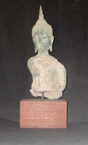 A SUBLIME CAST BRONZE BUDDHA FIGURE FROM 16tTH CENTURY AYUTTHAYA THA