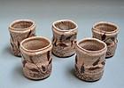 Set five Edo period Shino Mukozuke Cups