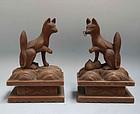 Pair Edo p. Japanese Shrine Foxes