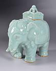 Elephant Shaped Celadon Koro by Miyanaga Tozan