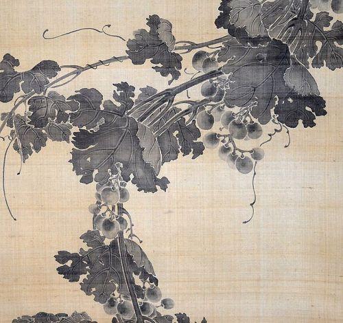 Oda Kaisen, Grapes, Edo Period Sumi-e Ink Masterpiece