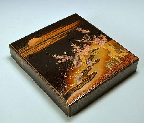 Antique Japanese Lacquer Suzuri-Bako Writing Box