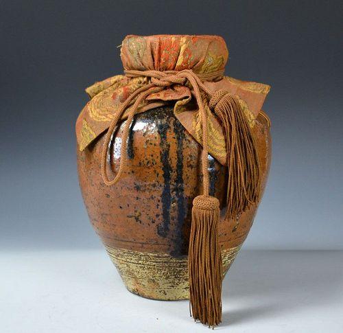 Edo p. Koshijiro Seto Chatsubo Tea-Leaf Storage Jar