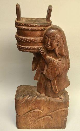 Antique Japanese Hardwood Carving, Shojo w/ Sake Barrell