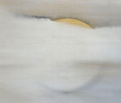 19th c. Silk Moon Scroll by Buddhist Priest Wada Gozan