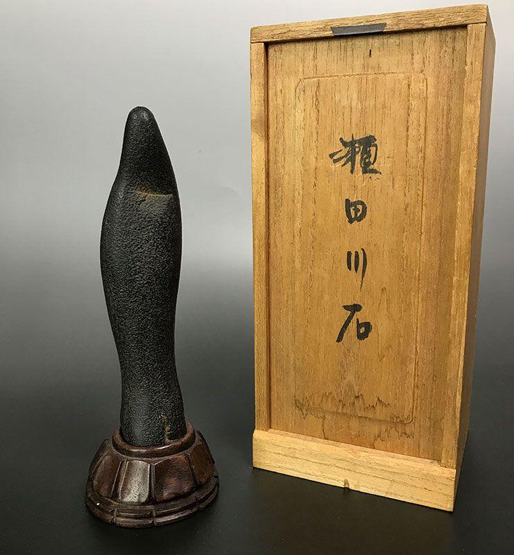 Antique Japanese Suiseki Stone Image, Kannon
