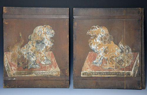 Antique Japanese Buddhist Altar Doors w/ Shishi Lions