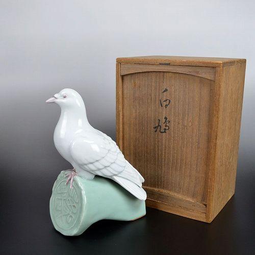 White Dove Porcelain Okimono by Miyanaga Tozan