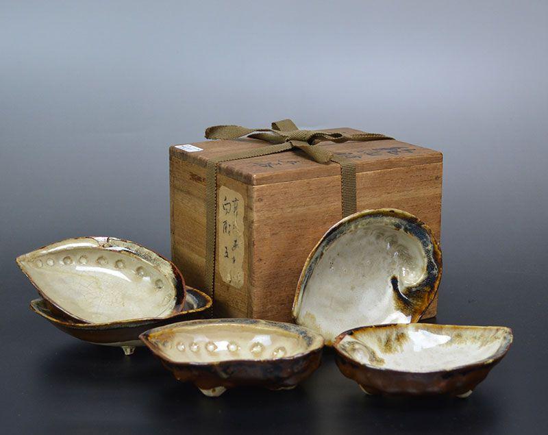 5 Antique Japanese Takatori Shell Shaped Pottery Dishes