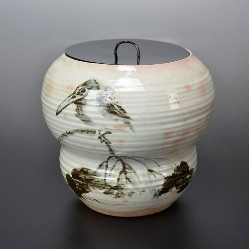Mizusashi Water Jar with Kingfisher by Dohachi