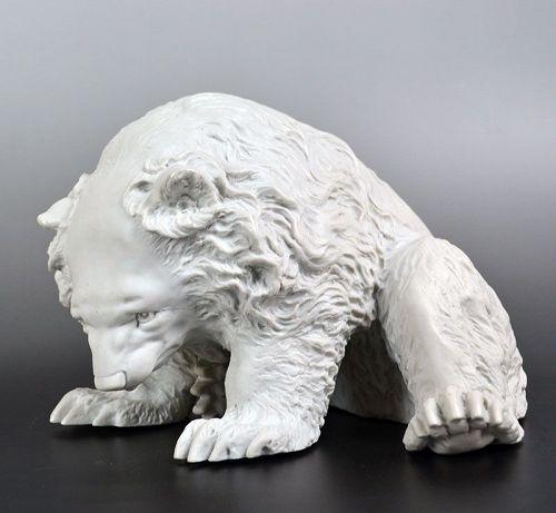 Banko-yaki Sculpture, White Porcelain Bear