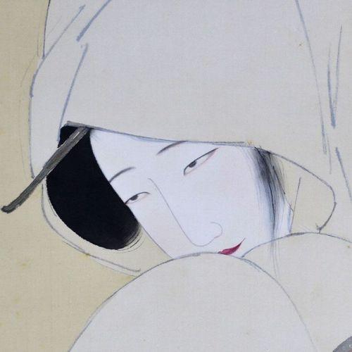 Kitano Tsunetomi Painted Scroll, The Heron Maiden