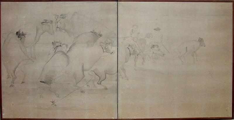 Antique Japanese Screen, Herding Cattle by Nagasawa Rosetsu A