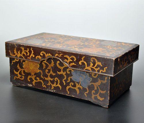 Nanbokucho Era Buddhist Ritual Lacquer Box, 1334