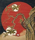 FANTASTIC Japanese EDO p. CRANE & SUN SCROLL