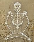 Very Rare Edo p. Japanese Meditating Skeleton Scroll
