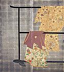 Antique Tagasode Silver Screen with Shogun Crest