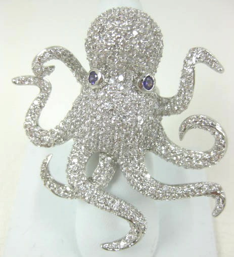 """Amazing """"Noir"""" Pave Crystal Octopus Statement Ring"""