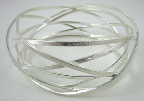 "Unusual Sikara Sterling ""Orbitz"" Modernist Bracelet"
