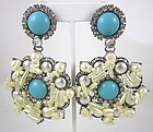 Glamorous Larry Vrba Turquoise and Pearl Earrings