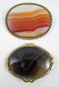 Pair of Scottish Victorian Banded Agate Gold Fill Pins