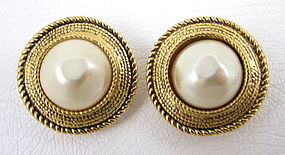 Classic Chanel Gold & Baroque Pearl Button Earrings