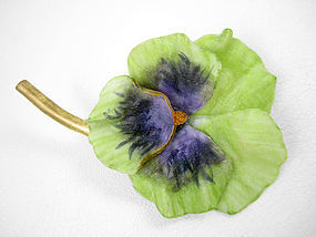 Gorgeous Fabrice Green & Purple Pansy Pin