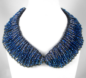 Exquisite Large Blue Glass Bead Bib Necklace