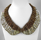 Elegant Shimmering Bronze Tones Glass Bead Bib Necklace