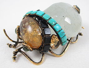 Adorable Iradj Moini Gemstone Bug Pin