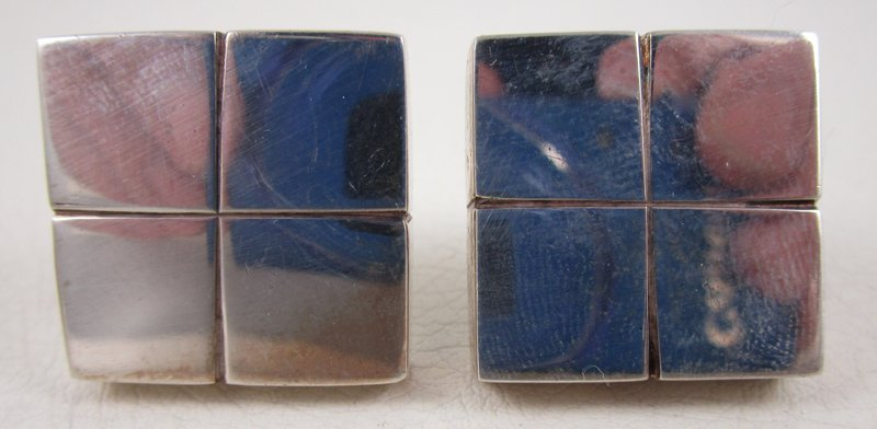Bold William Spratling Mexican Silver Square Moderne Earrings