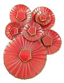 "Beautiful Japanesque Cilea of Paris ""Kyoto"" Red Resin Pin"