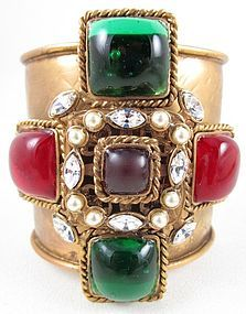 Chanel Inspired Gripoix Glass Maltese Cuff Bracelet