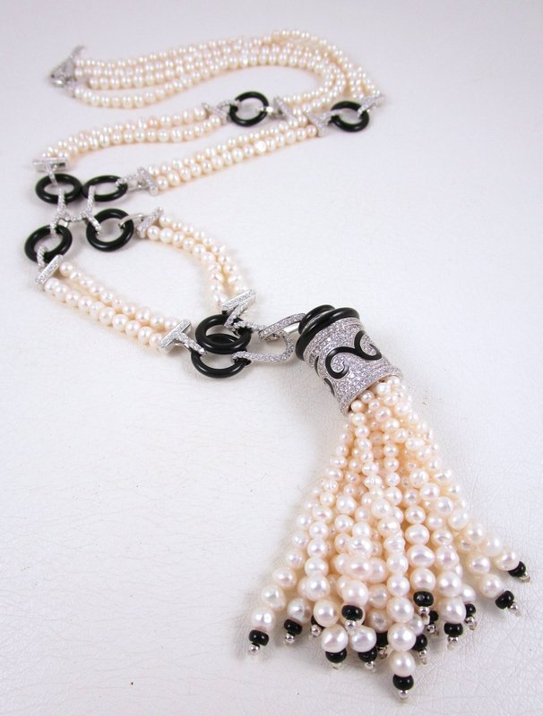 Chic Jarin Kasi Sterling Pearl and Onyx Art Deco Tassel Necklace