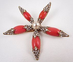 Spectacular Iradj Moini Coral Pearl and Rhinestone Starburst Pin
