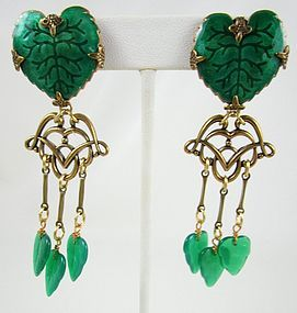 Jan Michaels Antiqued Brass Glass & Enamel Art Nouveau Earrings