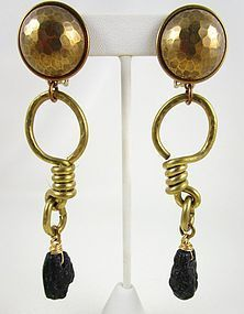 Dramatic Jan Michaels Brass & Lava Stone Earrings