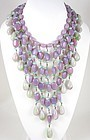 Outstanding Miriam Haskell Faux Lavender Jade Bib Necklace