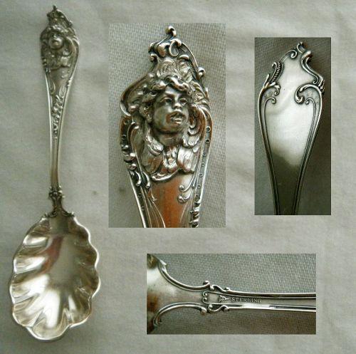 "Watson, Newell & Co. ""Cherub"" Winged Figure Sterling Sugar Spoon"