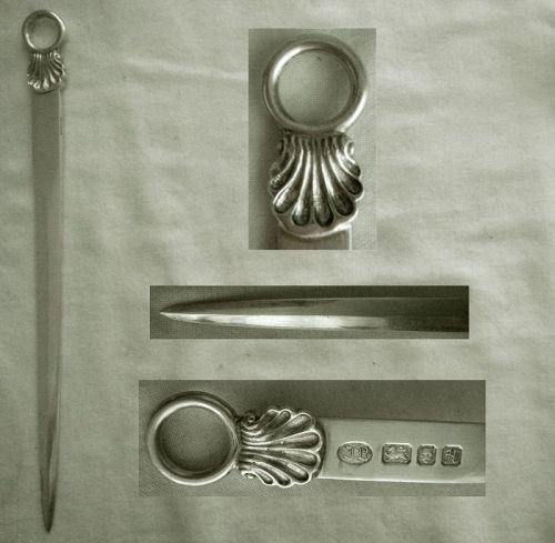 "James Robinson, London, ""Shell"" Sterling Silver Meat Skewer"