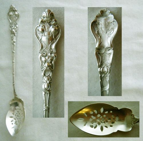 """Unger """"Douvaine"""" Figural Sterling Silver Olive Spoon, Pierced Bowl"""