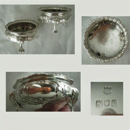 Gibson & Langman, London 1897, Pair Sterling Silver Master Salts