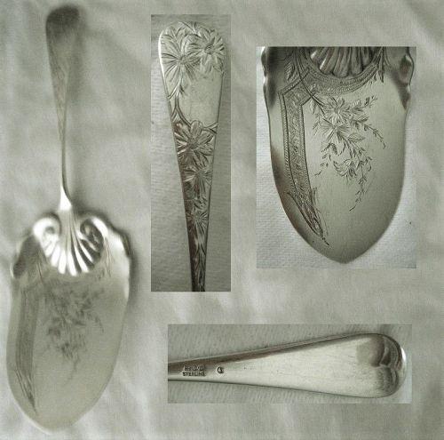 "Gorham ""Chrysanthemum"" Engraved Aesthetic Sterling Silver Pie Server"