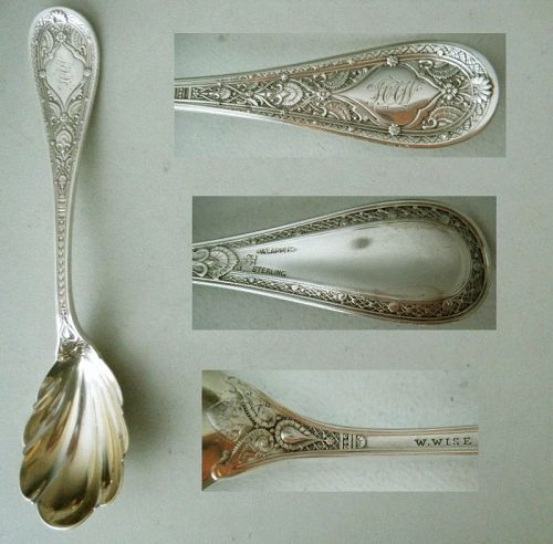 """Whiting """"Persian,"""" Wm. Wise Retailer, Sterling Silver Preserve Spoon"""