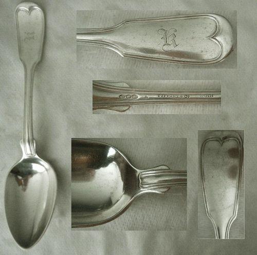 "Hebbard for Tiffany & Co ""French Thread"" Unusual Coin Silver Spoon x 2"