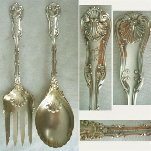 "Whiting ""Imperial Queen"" Sterling Silver Salad Serving Fork & Spoon"
