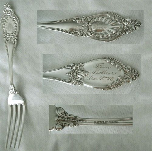 """Wallace """"Sappho"""" Sterling Silver 1898 Presentation Fork"""