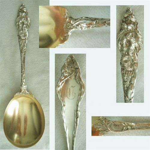 """Reed & Barton """"Les Six Fleurs"""" Old Sterling Silver Berry or Jam Spoon"""