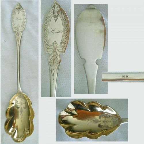 Notched & Engraved Handle Gold Bowl Coin Silver Berry Spoon